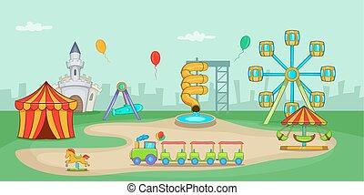 parco divertimento, orizzontale, bandiera, cartone animato, stile