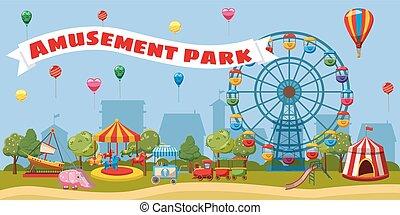 parco divertimento, paesaggio, concetto, cartone animato, stile