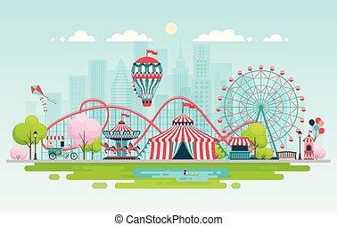 parco divertimento, urbano, paesaggio.