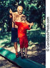 parco, esercitarsi, nipote, nonno
