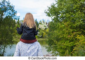 parco, felice, figlia, giovane padre
