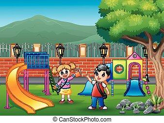 parco, felice, gioco, pubblico, bambini