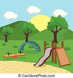 parco, giochi, campo di gioco, paesaggio, fuori