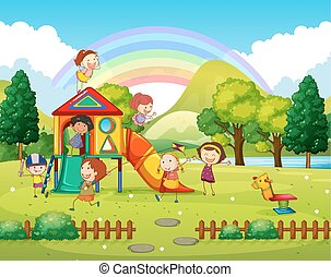 parco, gioco, giorno, bambini