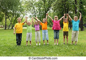 parco, gruppo, bambini