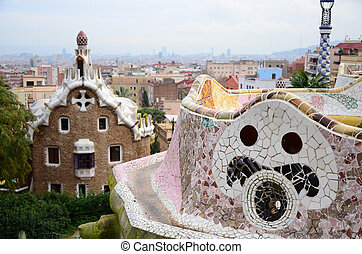 parco, guell, in, barcellona, spagna