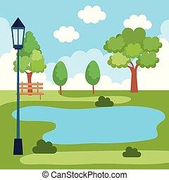 parco, lago, paesaggio, scena