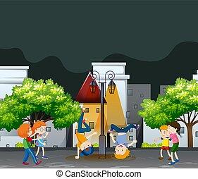parco, molti, bambini, vicinato, ballo