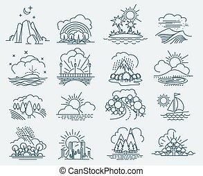 parco, paesaggio, icone, contorno