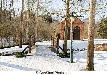parco, ponte, ruscello, retro, illuminazione, casa, neve, inverno