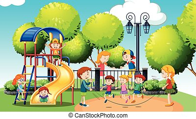parco pubblico, bambini giocando
