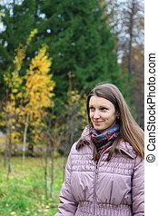 parco, ragazza, autumn-day, camminare