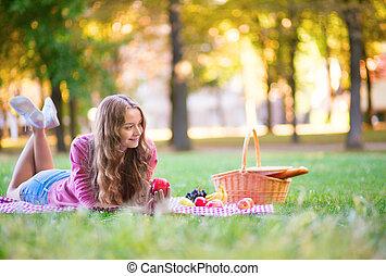 parco, ragazza, picnic