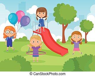 parco, ragazze, carino, gioco