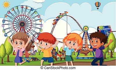 parco, tema, gruppo, bambini