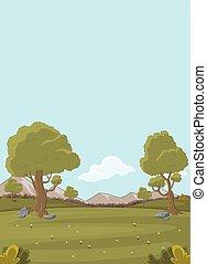 parco verde, con, erba, e, alberi.