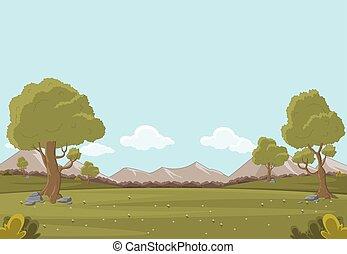 parco verde, con, erba, e, albero