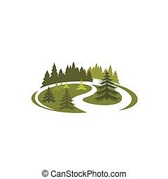 parco, verde, natura, icona, di, foresta, paesaggio albero