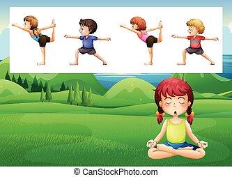 parco, yoga, persone
