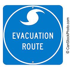 parcours, évacuation, ouragan, signe