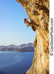 parcours, grimpeur, provocateur, femme, rocher