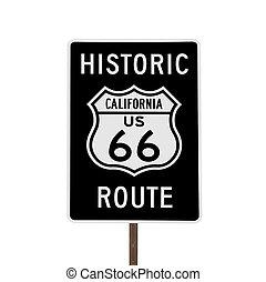 parcours, isolé, signe, historique, californie,  66, route