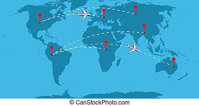 parcours, ligne aérienne, vol, pathway., illustration, voyage, avion, ligne, piste, map., courbe, navigation, diagramme, voyage, sentier, pointillé, vecteur, en mouvement, direction