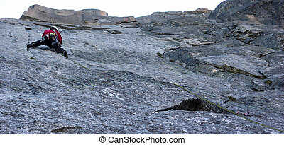 parcours, rocher, granit, mâle, escarpé, grimpeur