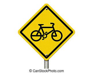 parcours, vélo, panneau avertissement