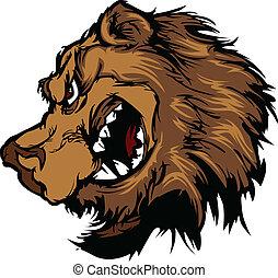 pardo, cabeça, caricatura, urso, mascote