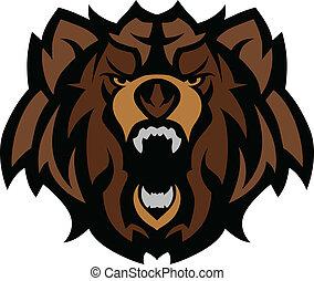 pardo, gráfico, cabeça, urso, mascote