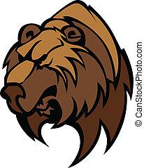 pardo, vetorial, cabeça, urso, mascote