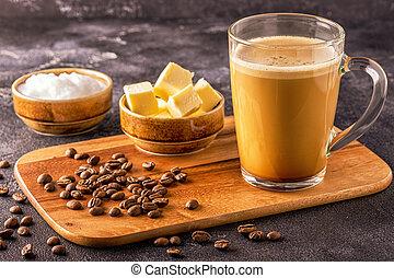 pare-balles, café, mélangé, à, organique, beurre, et, mct,...