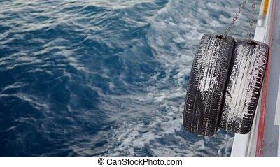 pare-chocs, remorqueur, boat., pneu, arc