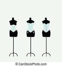 parecchi, luce, indossatrici, con, corsetti, su, uno, priorità bassa blu-chiaro