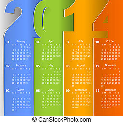 pared, 2014, calendario, limpio, empresa / negocio