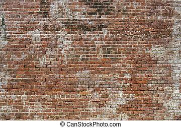 pared, 230, ladrillo, viejo