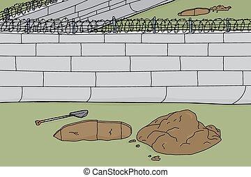 pared, afuera, prisión, agujeros, cavado