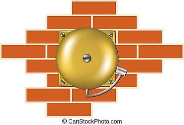 pared, alarma, ladrillo, retro