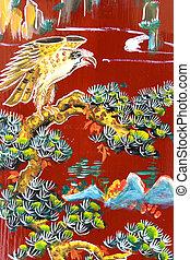 pared, arte, templo, chino