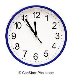 pared azul, blanco, aislado, reloj