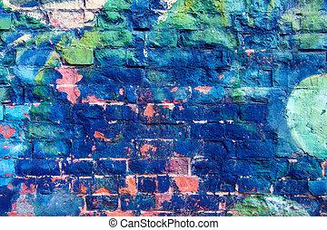 pared azul, brillante, grafiti, colorido
