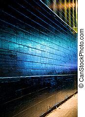 pared azul, ladrillo, reflejar, luz