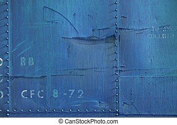 pared azul, metal, sucio