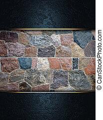 pared azul, piedra, plano de fondo, nameplate.
