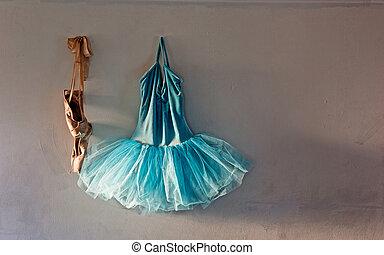 pared, ballet, viejo, disfraz