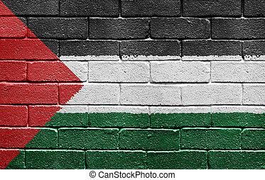 pared, bandera de palestine, ladrillo