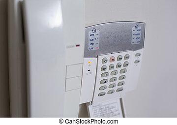 pared blanca, montado, teléfono de la entrada, sistema