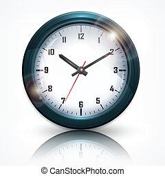 pared, blanco, redondo, reloj