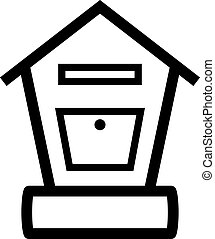 pared, bloqueable, poste, montado, caja
